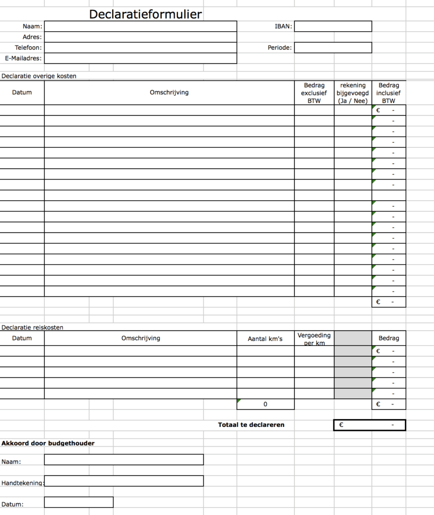 Voorbeeld declaratie formulier Excel