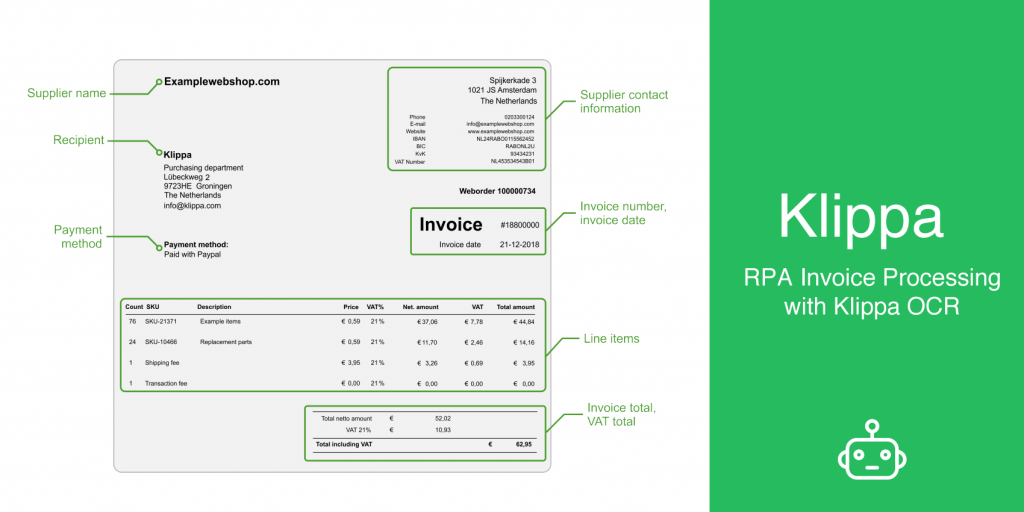 RPA for invoice processing with OCR
