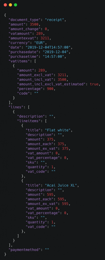 Klippa Receipt Capturing API Response in JSON