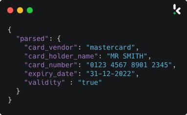 Bank card OCR JSON