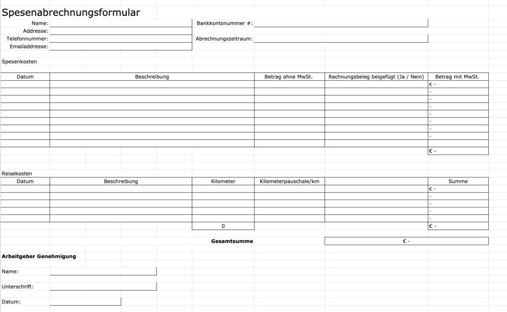 Reisekostenabrechnung Excel Vorlage Fur Buchhaltung 15