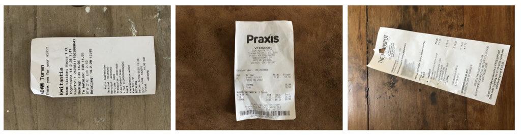 Processing receipts for VAT returns